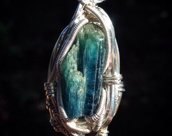 Cruzeiro mine blue and green bicolor tourmaline wire wrapped pendant | .925 sterling silver | handmade by Jon Hixson