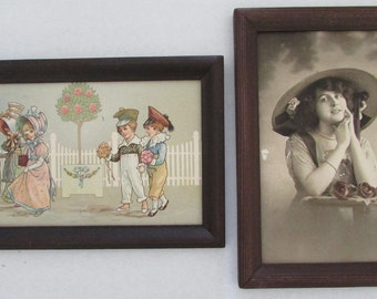 Vintage Set of two framed pictures victorian style girl roses children playing