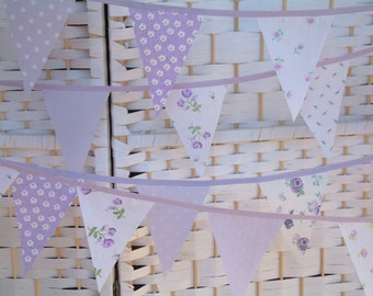 Mini-bunting, banner. Lilac (lavender, purple) & white. Floral and dots. Sold by the metre. Baby girl. So pretty!