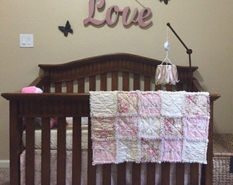 Shabby Chic Crib Bedding, Pink, Toille, Ivory, floral,CUSTOM, Baby Rag Quilt, Crib Skirt, and Fitted Sheet