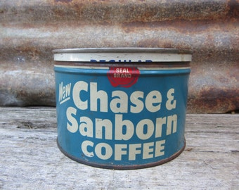 Vintage Tin Coffee Can Chase & Sanborn Blue Red Metal Tin Container Storage Display Country Farm Retro Kitchen Rustic Primitive Vtg Old