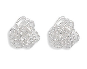 Sterling Silver Small Twisted Love Knot Earrings