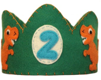 Custom Made Dinosaur Crown, Green with orange Dinosaur,  Birthday Crown,  Custom Number and Color