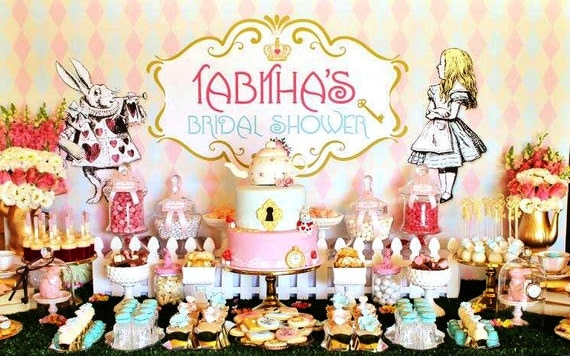 ALICE In WONDERLAND Backdrop Design For Bridal Shower Birthday Or