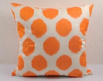 Orange Polka Dot Ikat Pillow Cover,  Ikat Pillow, Ikat throw pillows, Designer pillows, Decorative pillows, Accent pillows