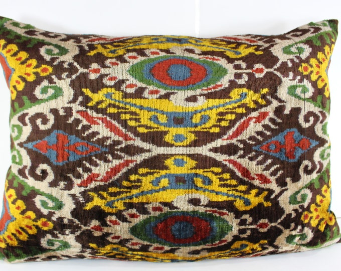 Silk Velvet Ikat Pillow Cover Lp305, Bohemian pillow, Velvet Ikat Pillow, Velvet Pillow