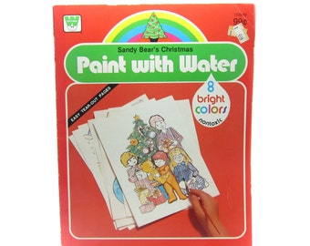 Paint with Water Sandy Bear's Christmas Vintage 1980 Watercolor Coloring Book