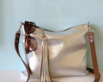 Silver leather bag, silver handbag, metallic evening purse, silver leather crossbody bag, made by Ginger and Brown