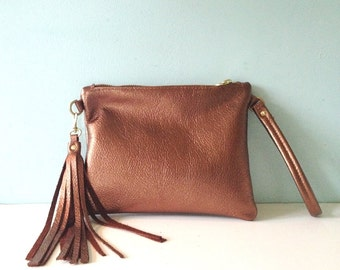 Bronze leather clutch, metallic leather wristlet purse, bronze clutch bag