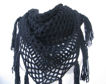 crocheted black triangular wool shawl with tassels, openwork large wrap, women's casual hippie style