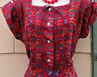 Vintage 1940s 1950s Red Paisley Day Dress Frock Rockabilly VLV Sock Hop Medium Large