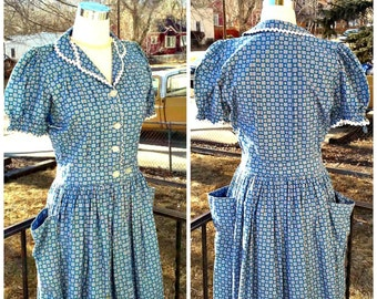 Vintage 1930s 1940s Blue Calico House Dress Small Rockabilly World War II Small S