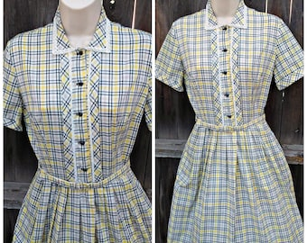 1950s Plaid Day Dress Belt Yellow Gray PAT PERKINS Vintage Extra Small Small New Old Stock Rockabilly VLV