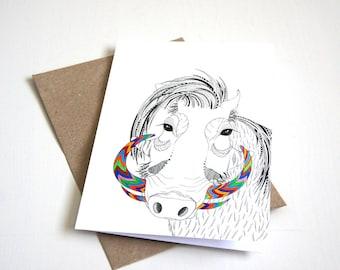 Warthog greeting card | A6 greeting card | animal card | african art | pattern card | greeting card