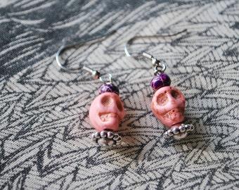 Pastel Pink Skull Earrings