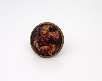 Dried Rose Petal Antique Bronze Tie Pin Tack