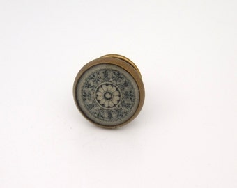 Steampunk Floral Geometric Design Tie Tack in Antique Brass  12mm