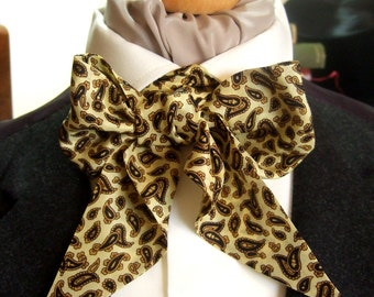 Victorian Bow Tie Cravat Ascot in Gold And Black Paisley Patterned Silk