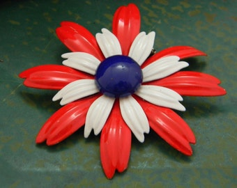 Vintage Enamel Flower Brooch Red White Blue
