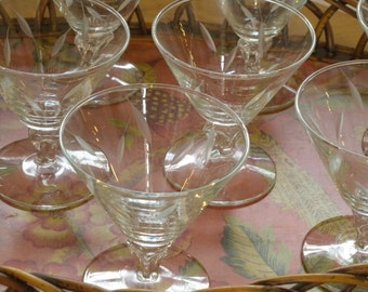 Set of Twelve Plus One Vintage Sherbert Glasses in a Etched Cut Wheat Pattern ~ By Libbey Rock Sharpe ~ SIMPLICITY