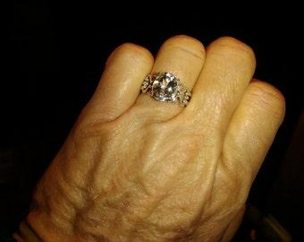 Vintage White Topaz Sterling Silver Ring