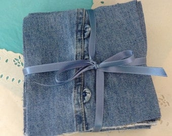 """Denim squares - 54 - 6""""  Pre-cut Fabric - Rag Quilt kit - Patchwork projects - DIY quilt  - folds and fades from upcycled clothing"""