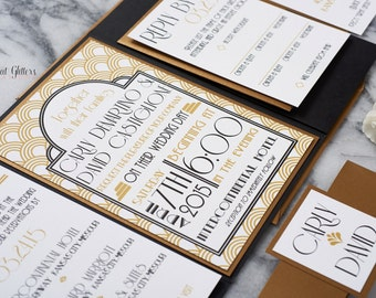 Art-deco wedding invitation suite, gold and black wedding invitations, vintage wedding invitation suite, 1920's wedding invitations