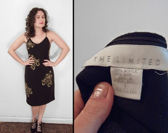 Gold Beaded Dress 1990s The Limited Bodycon Black Spaghetti Strap Size Large