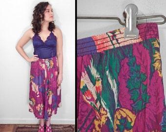 PARROT Print Skirt 70s Tropical Colors Elastic Waist Pink Green