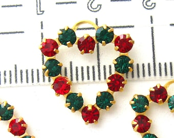 5 Swarovski heart charms Emerald and Ruby 17x19 mm One loop Red and Green heart charms Crystal Heart Charms Jewelry Components Earring parts