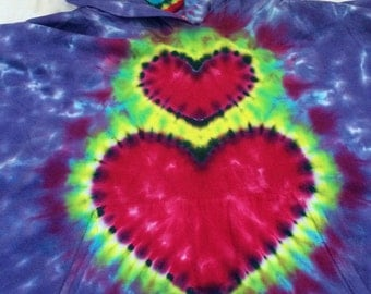 Little Kid's Purple Heart Love Tie Dye Hooded Poncho