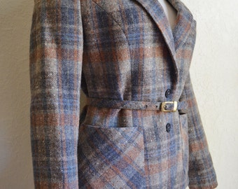 Vintage Women's JH Collectibles Wool Jacket with Belt and Pockets 1970 / 80's Size Small