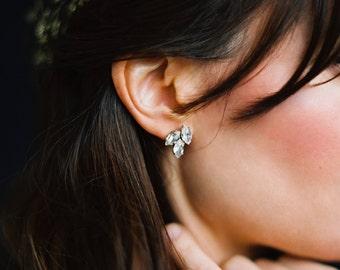 Pendientes de novia, aretes de oro, pendientes de diamantes de imitación, joyería nupcial, collar hoja-estilo 1016