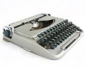 Vintage Typewriter, Mid Century typewriter, Typewriter, Grey / Siver Travel Typewriter, Working Typewriter, Portable typewriter, 60s