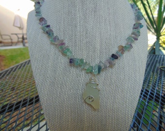 "1"" Frosted White Sea glass Pendant, on 20"" Multicolor glass chip necklace"