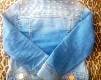 BABY GOT BACK // Childrens Custom Studded Denim Jacket - Made To Order - All Sizes Available