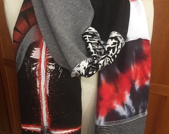 UPCYCLED t-shirt scarf... STAR WARS... Kylo Ren ... Light saber ... Force Awakens ... Black, Gray, Red & White