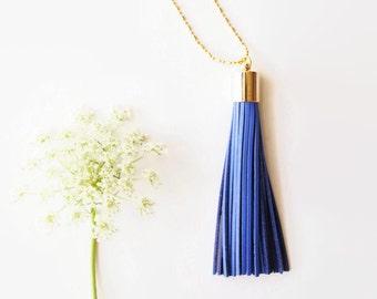 Boho Necklace - Long Tassel Necklace Royal Blue Leather