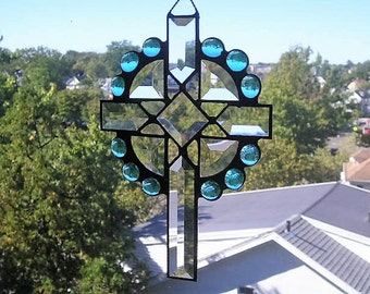 Stained Glass Art Suncatcher|Cross Suncatcher|Celtic Cross|Beveled Glass Cross|Light Blue|Handcrafted|Made in USA
