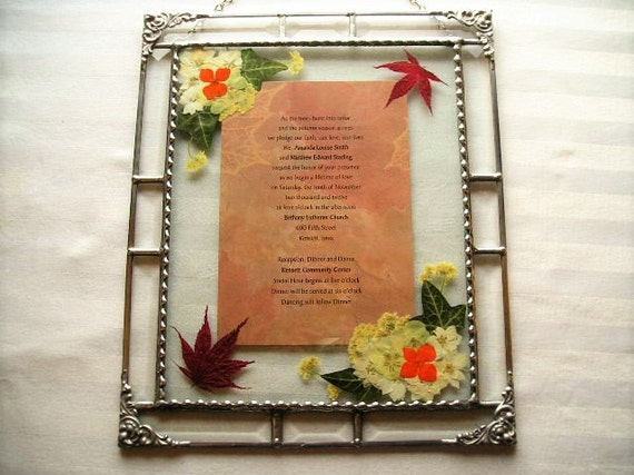 Glass ArtFramed Wedding InvitationPressed Flower ArtWedding ...
