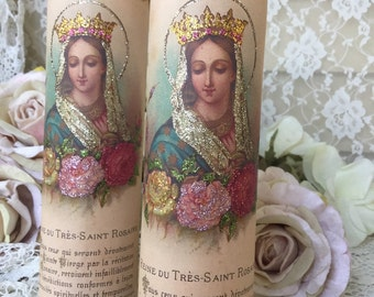 Virgin Mary Candle, Christmas candle, Shabby French Prayer Candle, Holy Queen, Altar Candle, Religious gift, fanny pippin