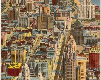 Linen Postcard, Chicago, Illinois, Michigan Avenue from River, 1944
