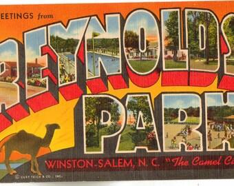 Linen Postcard, Greetings from Reynolds Park, Winston Salem, NC, Large Letter
