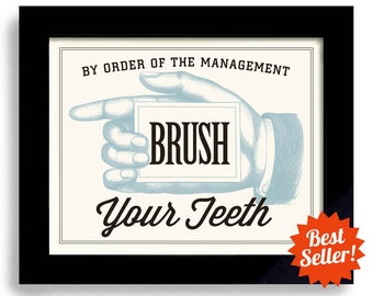 Bathroom Art, Brush Your Teeth, Dentist Office, Kids Bathroom, Wall Art Print, Dental Hygiene Bathroom Decor Kids Teeth Childrens Bath