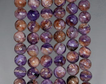 8mm Chara River Charoite Gemstone Grade A Purple Brown Round Loose Beads 7.5 inch Half Strand (90182794-778)