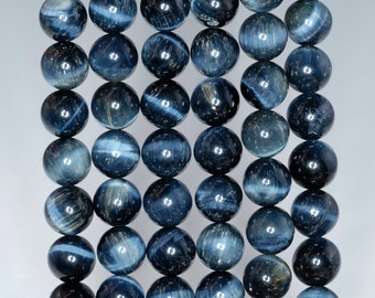 8mm Natural Blue Tiger Eye Gemstone Hawk Eye Grade AA Round Loose Beads 15.5 inch Full Strand (90183143-259)