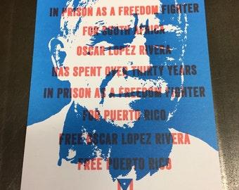 Oscar Lopez Rivera Poster - 2-color offset print