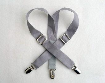 Gray Suspenders, Organic Cotton Suspenders, Grey suspenders, Baby suspenders, Toddler suspenders, Newborn suspenders, Ring bearer, baby boy