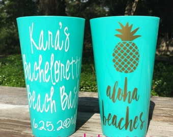 ALOHA BEACHES Pineapple Personalized Reuseable Cups, Bachelorette Tumblers - Set of 9 - Party Cups personalized on BOTH sides, Bachelorette