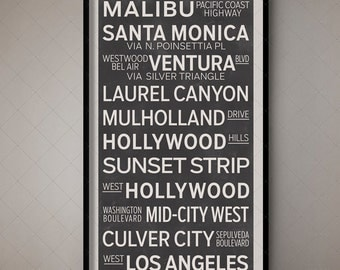 Los Angeles California Subway Sign, Transport Art, Bus Blind, Bus Roll, Bus Art, Transport Design, Transit Design, Transit Art, Fine Art